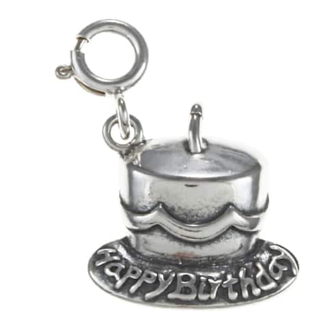 Sterling Silver 'Happy Birthday' Cake Charm