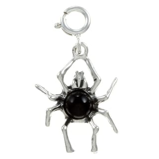 Sterling Silver Onyx Spider Charm