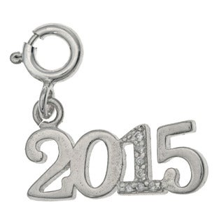 Sterling Silver '2015' Crystal Charm
