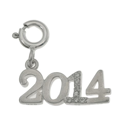 Sterling Silver '2014' Crystal Charm