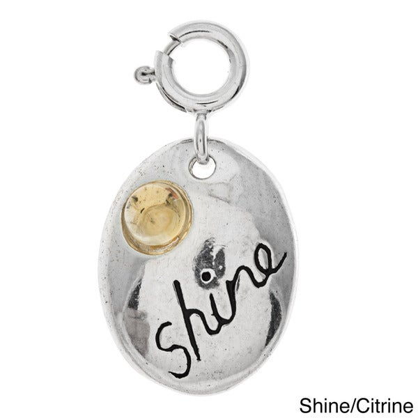 Sterling Silver Spirit with Gemstone Charm