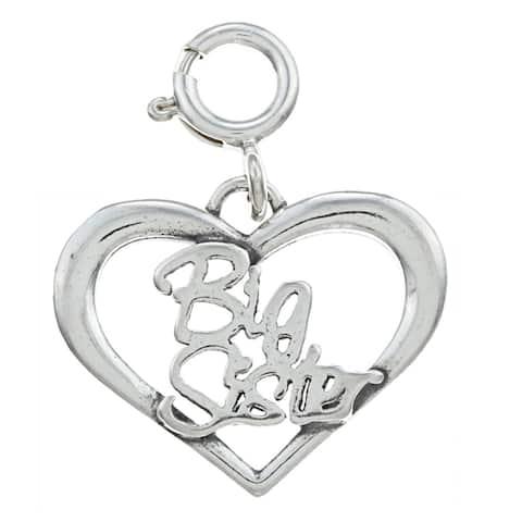 Sterling Silver Sister Heart Outline Charm