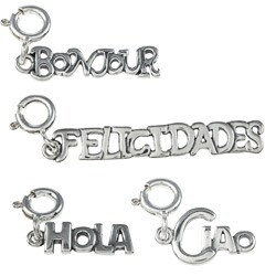 Sterling Silver Foreign Language Charm
