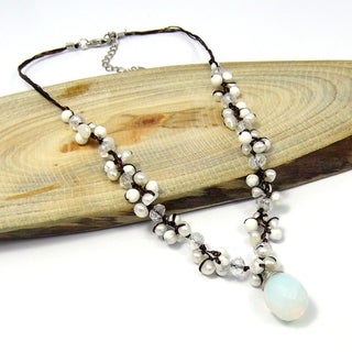 Handmade Moonstone Tears Pearl Glow Silk Thread Necklace (Thailand)