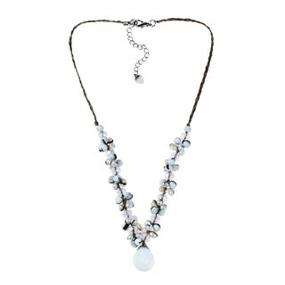 Handmade Moonstone Tears Pearl Glow Silk Thread Necklace (Thailand)