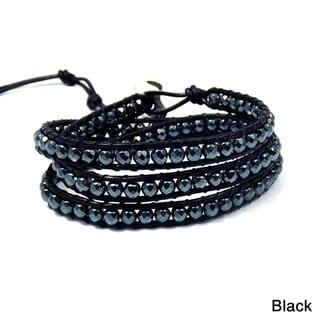 Midnight Charm Hematite Beads Black Leather Bracelet (Thailand)