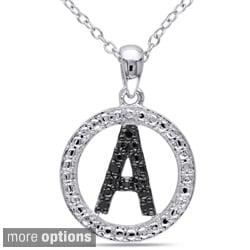 Miadora Sterling Silver Black Diamond Initial Necklace