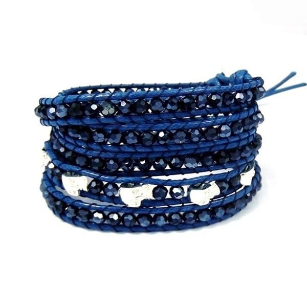 Handmade Immortal Skulls Blue Snake Cord Crystals Wrap Bracelet (Thailand)