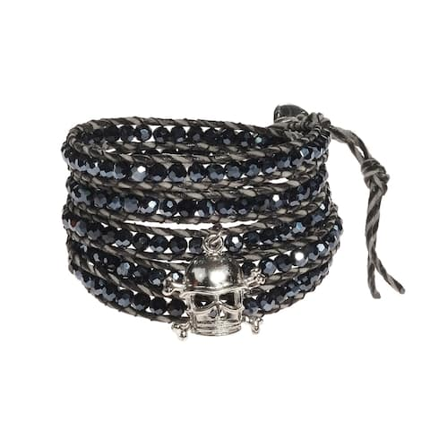 Handmade Innate Cross or Pirate Skull Crystal Wrap Bracelet (Thailand)