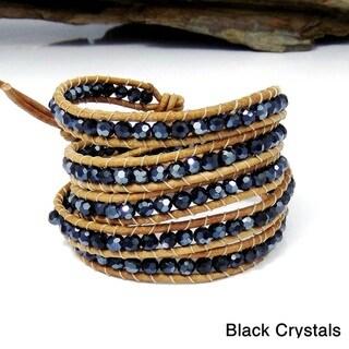 Trendy Stones Nude Leather Five Wrap Bracelet (Thailand)