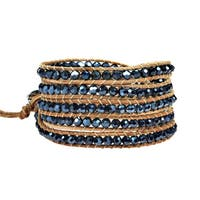 Handmade Trendy Stones Nude Leather Five Wrap Bracelet (Thailand)