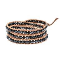 Handmade Natural Beauty Pearl Triple Wrap Nude Leather Bracelet (Thailand)