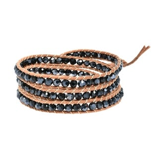 Handmade Natural Beauty Stones Three Wrap Nude Leather Bracelet (Thailand)
