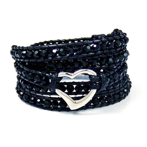 Handmade Twilight Dreams Heart Skull Peace Crystal Wrap Bracelet (Thailand)