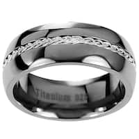 Men's Titanium Braided Inlay Wedding Band