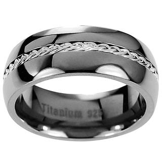 Menu0027s Titanium Braided Inlay Wedding Band