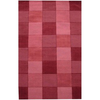 Hand Tufted Wine Tile Wool Rug (5'x 8')