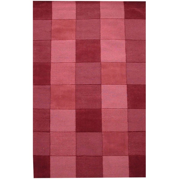 Hand Tufted Wine Tile Wool Rug (5'x 8')