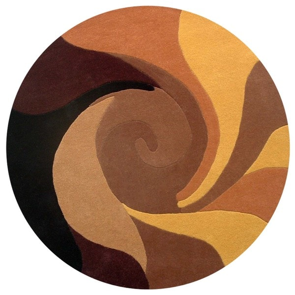 Black/ Brown Abstract Twister Hand-tufted Wool Rug