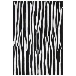 Black/ White Zebra Hand-tufted Wool Rug (8'x10'6)