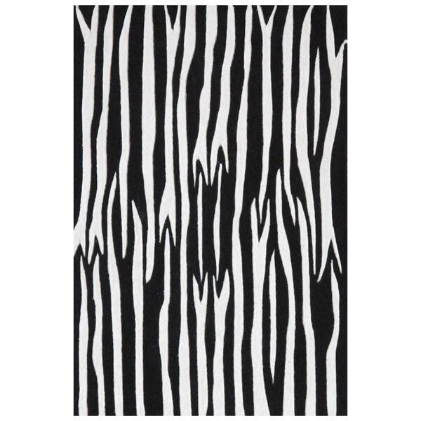 Black/ White Zebra Hand-tufted Wool Rug - 8' x 10'6