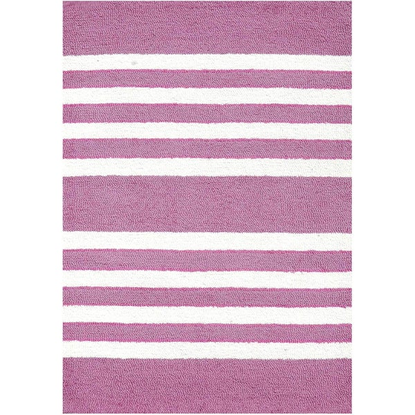 Pink/ White Striped Hand-tufted Rug (3' x 5')