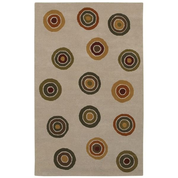 Beige/ Green Circle Hand-tufted Wool Rug