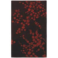 Red Floral Hand-tufted Wool Rug