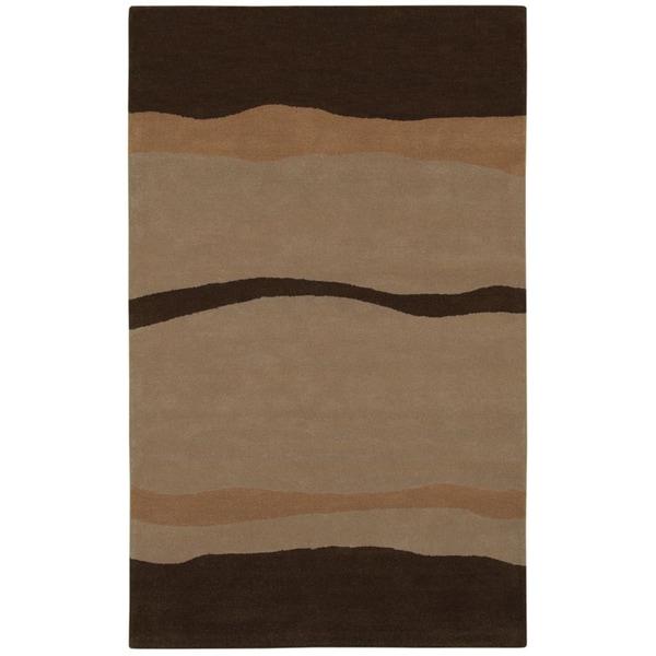 Beige/ Brown Abstract Wave Wool Rug - 8' x 10'6