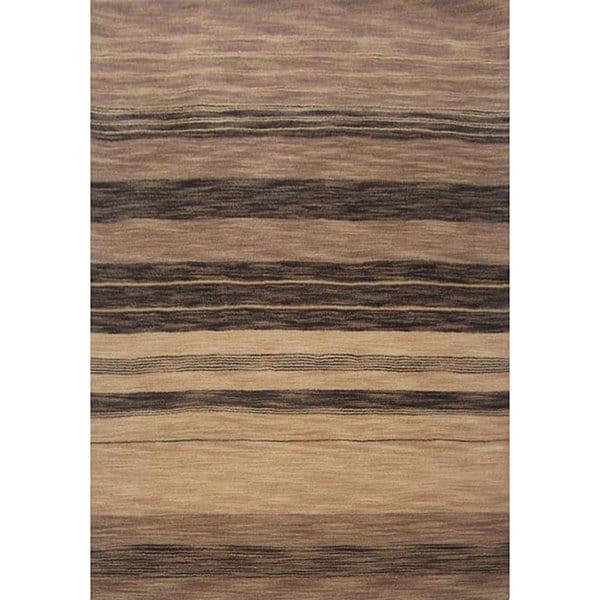 Beige Striped Hand-tufted Wool Rug - 5' x 8'