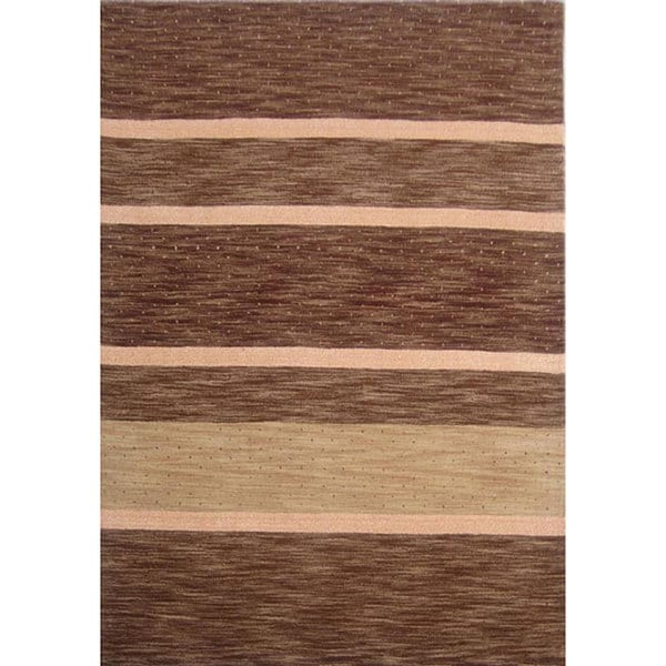 Brown Striped Hand-tufted Wool Rug - 5' x 8'