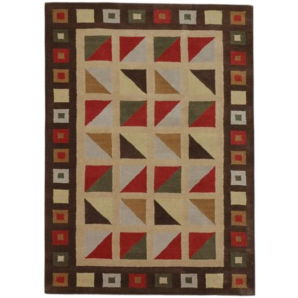 Beige/ Red Geometric Hand-tufted Wool Rug - 5' x 8'