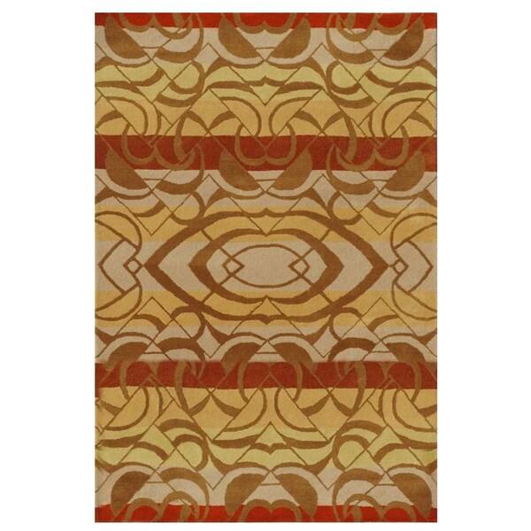 Gold Rust Geometric Hand-tufted Wool Rug - 5' x 8'