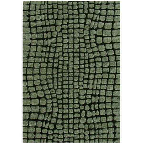Green Abstract Hand-tufted Wool Rug - 8' x 10'6