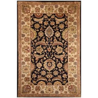 Hand-tufted Black/ Ivory Wool Rug (5' x 8')
