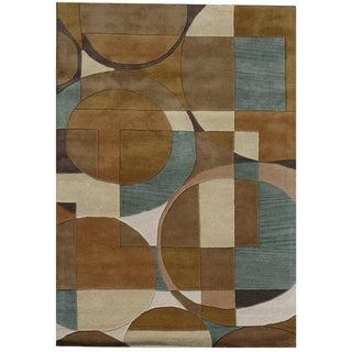 Hand-tufted Geometric Beige/ Brown Wool Rug