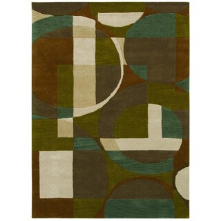 Hand-tufted Geometric Green/ Beige Wool Rug (5' x 8')