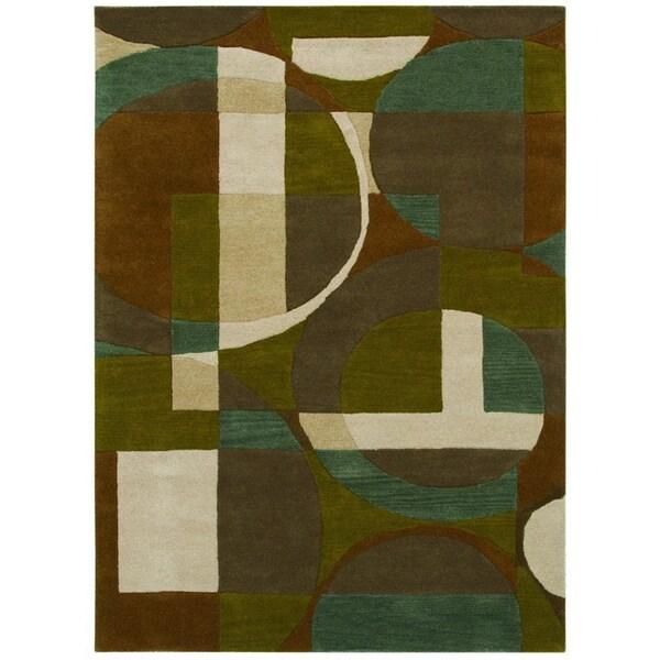 Hand-tufted Geometric Green/ Beige Wool Rug - 5' x 8'