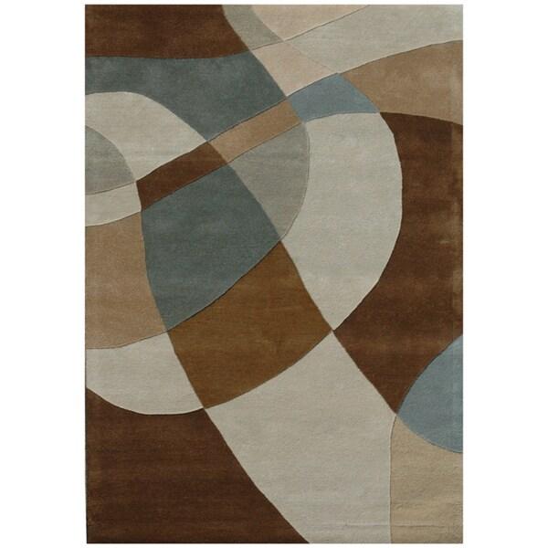 Hand-tufted Geometric Beige Wool Rug