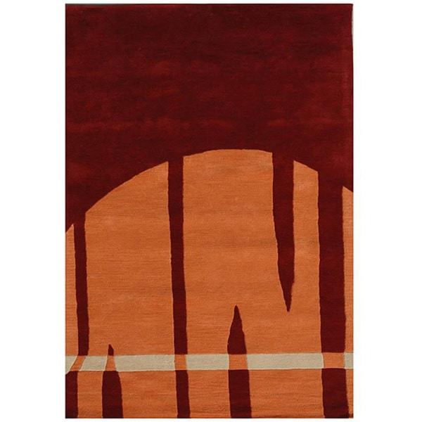 Hand-tufted Abstract Brown/ Orange Wool Rug (5' x 8')