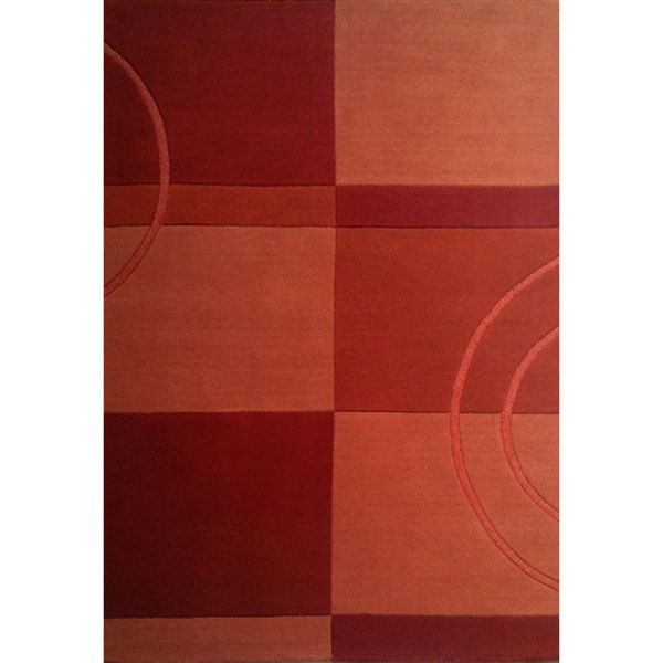 Hand-tufted Geometric Brown/ Orange Wool Rug