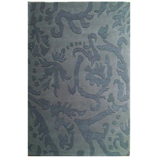Hand-Tufted Abstract Gray Wool Rug (5' x 8')