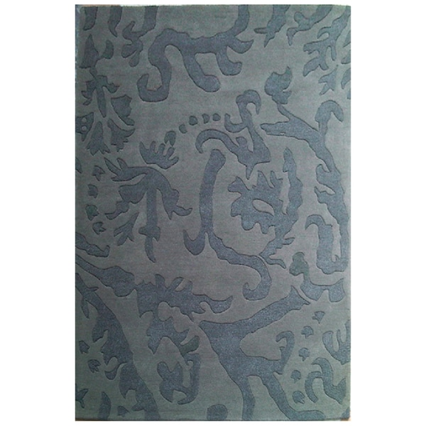 Hand-Tufted Abstract Gray Wool Rug - 5' x 8'