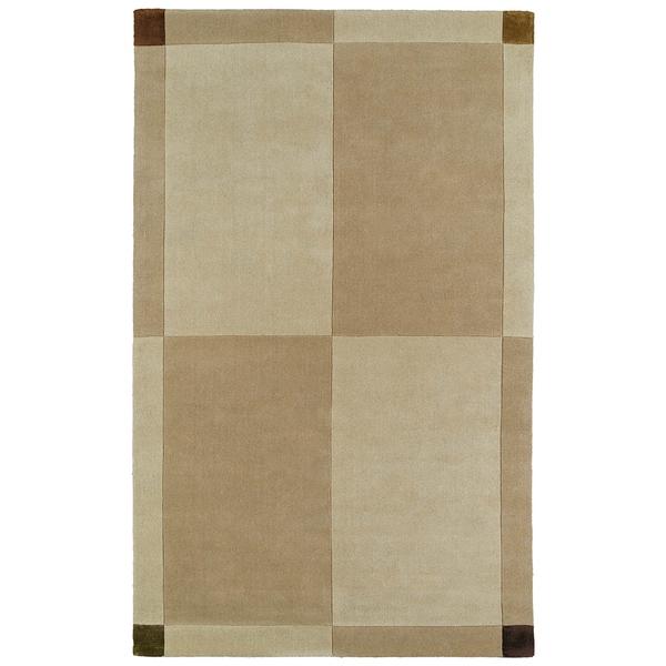 Hand-tufted Beige/ Brown Wool Rug