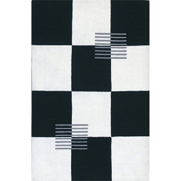 Hand-tufted Black/ White Wool Rug