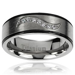 Vance Co. Men's Titanium Black and Gunmetal Cubic Zirconia Band (7 mm)