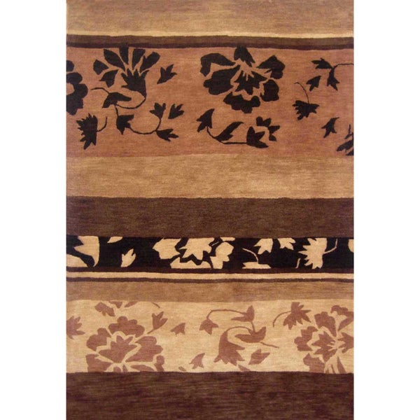 Hand-tufted Floral Brown Wool Rug