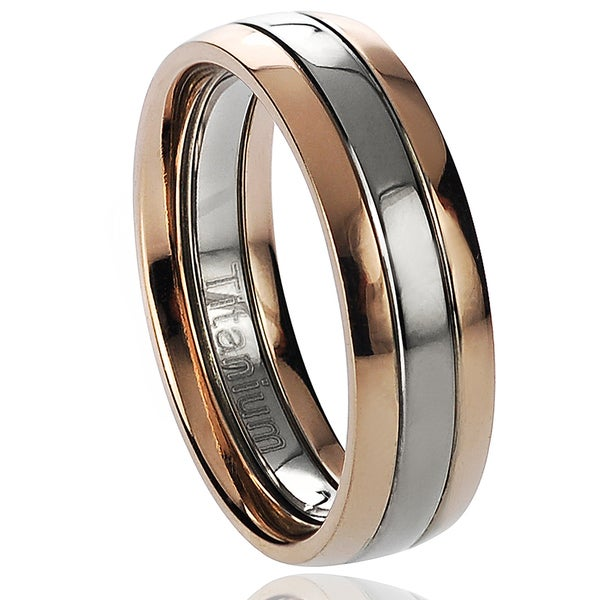 Mens Two tone Titanium Wedding Band Free Shipping On Orders