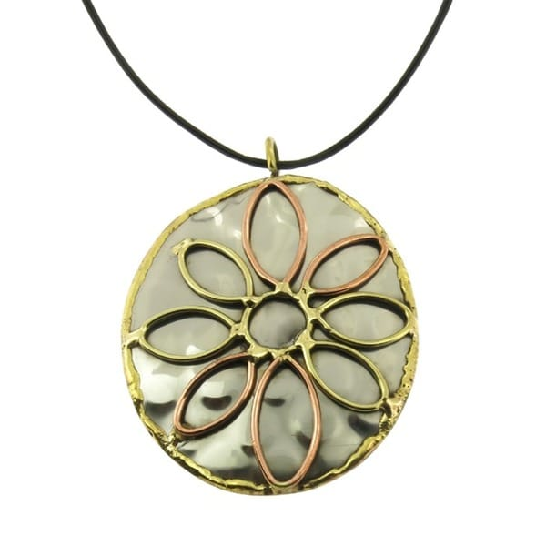 Handcrafted Copper and Brass Mixed Metals Floral Design Pendant Necklace (India)