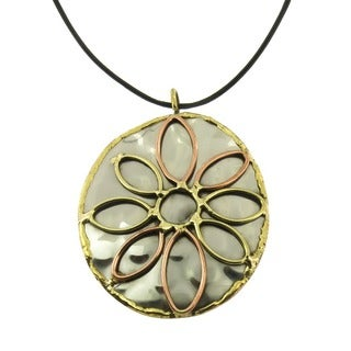 Handmade Copper and Brass Mixed Metals Floral Design Pendant Necklace (India)